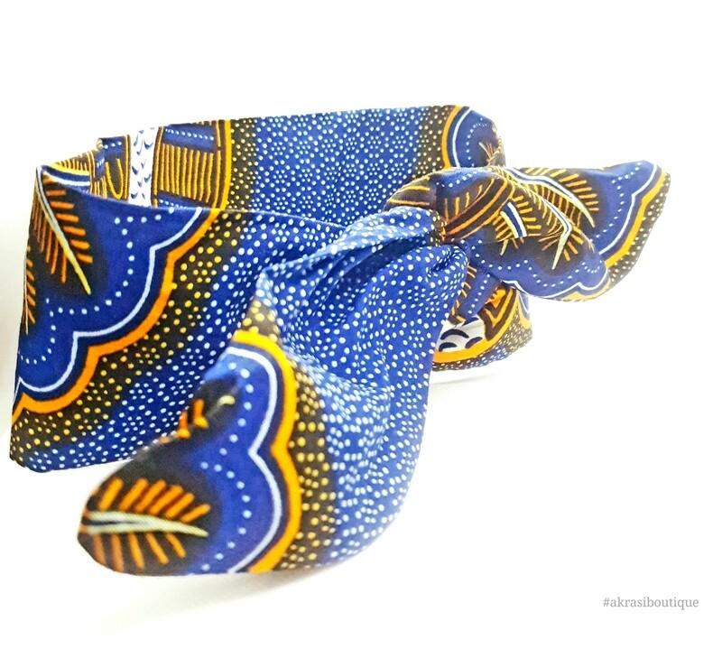 African print blue, orange and white wire hair tie   hair wrap   wire headband   African print headwrap   Ankara print   twisted hair tie