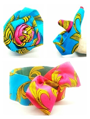 African print blue, pink and yellow hair accessory set includes wire hair tie, wire bun tie and flower brooch | hair clip