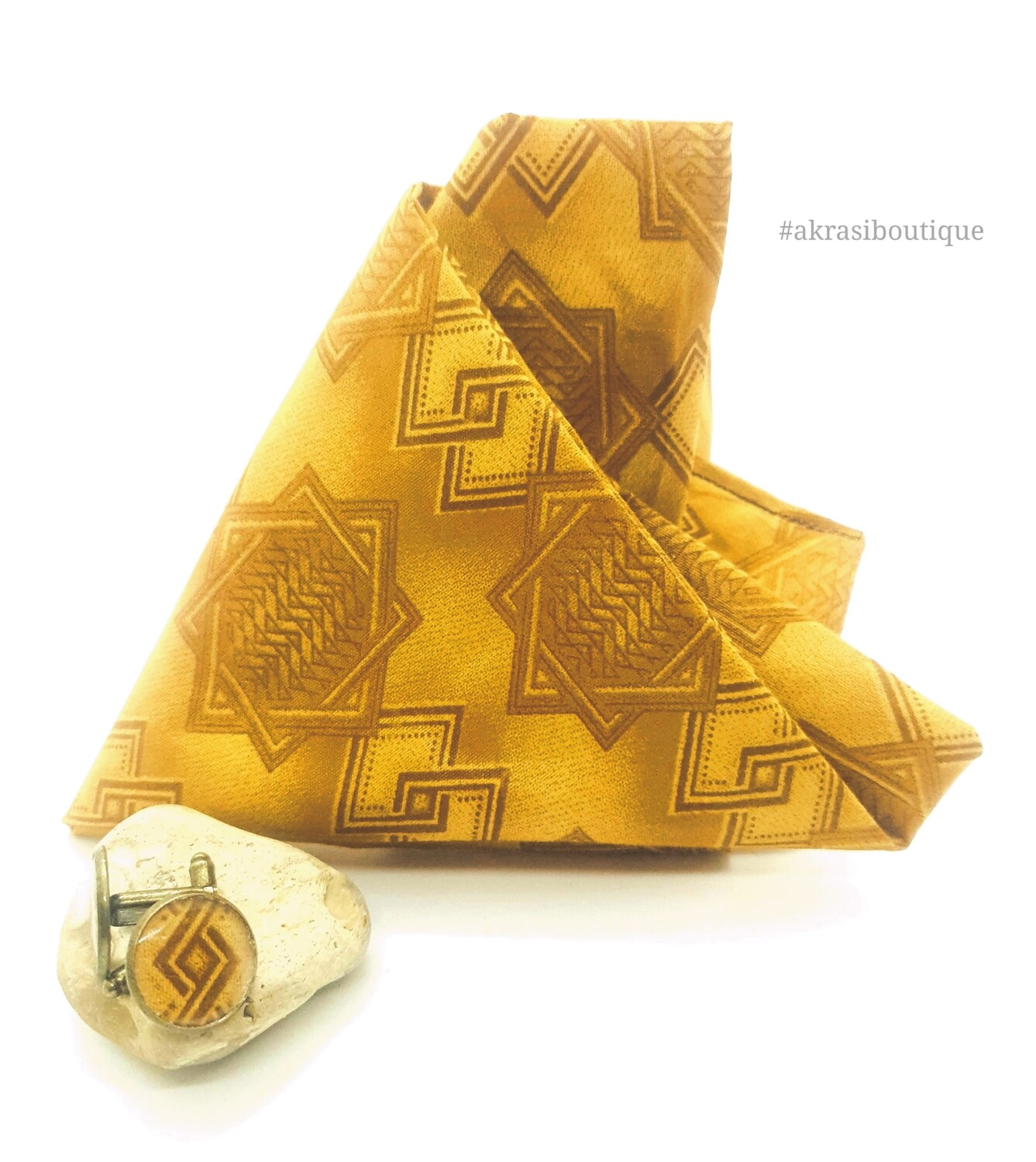 African print camel brown pocket square with bronze cufflinks | men's accessories | Ankara pocket square