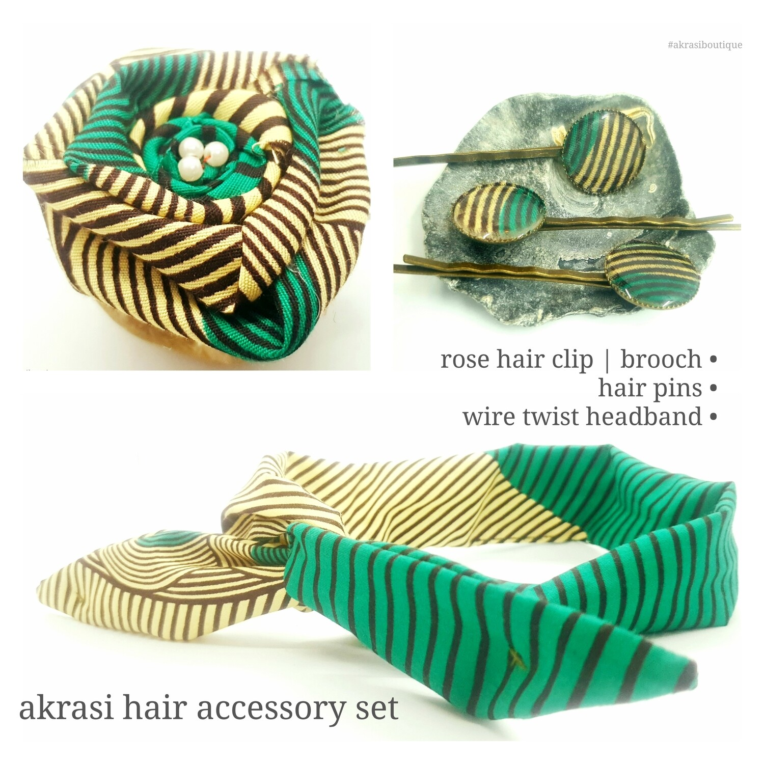 African print green, cream and brown hair accessory set includes wire hair tie, hair pins and flower brooch | hair clip