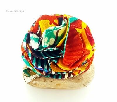 African print ruffle flower   carnation pin   flower hair clip   flower brooch   clothing accessories