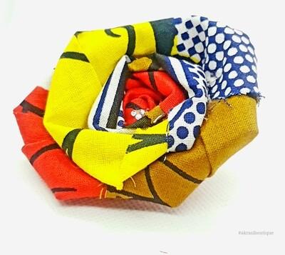 African print fabric rose flower   flower pin   flower hair clip   flower brooch   clothing accessories