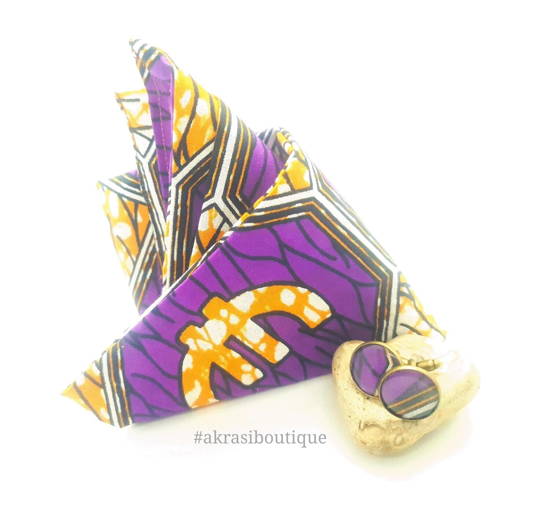 African print purple, orange and white pocket square with bronze cufflinks | men's accessories | Ankara pocket square