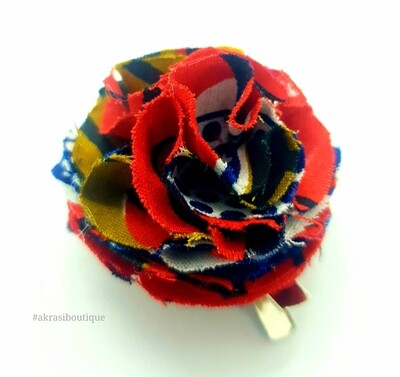 African print ruffle flower | carnation pin | flower hair clip | flower brooch | clothing accessories