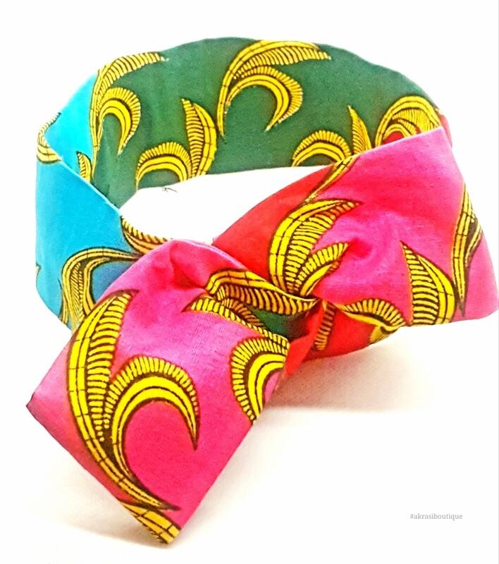 African print wire hair wrap   Ankara print wire twist headtie   wired headband