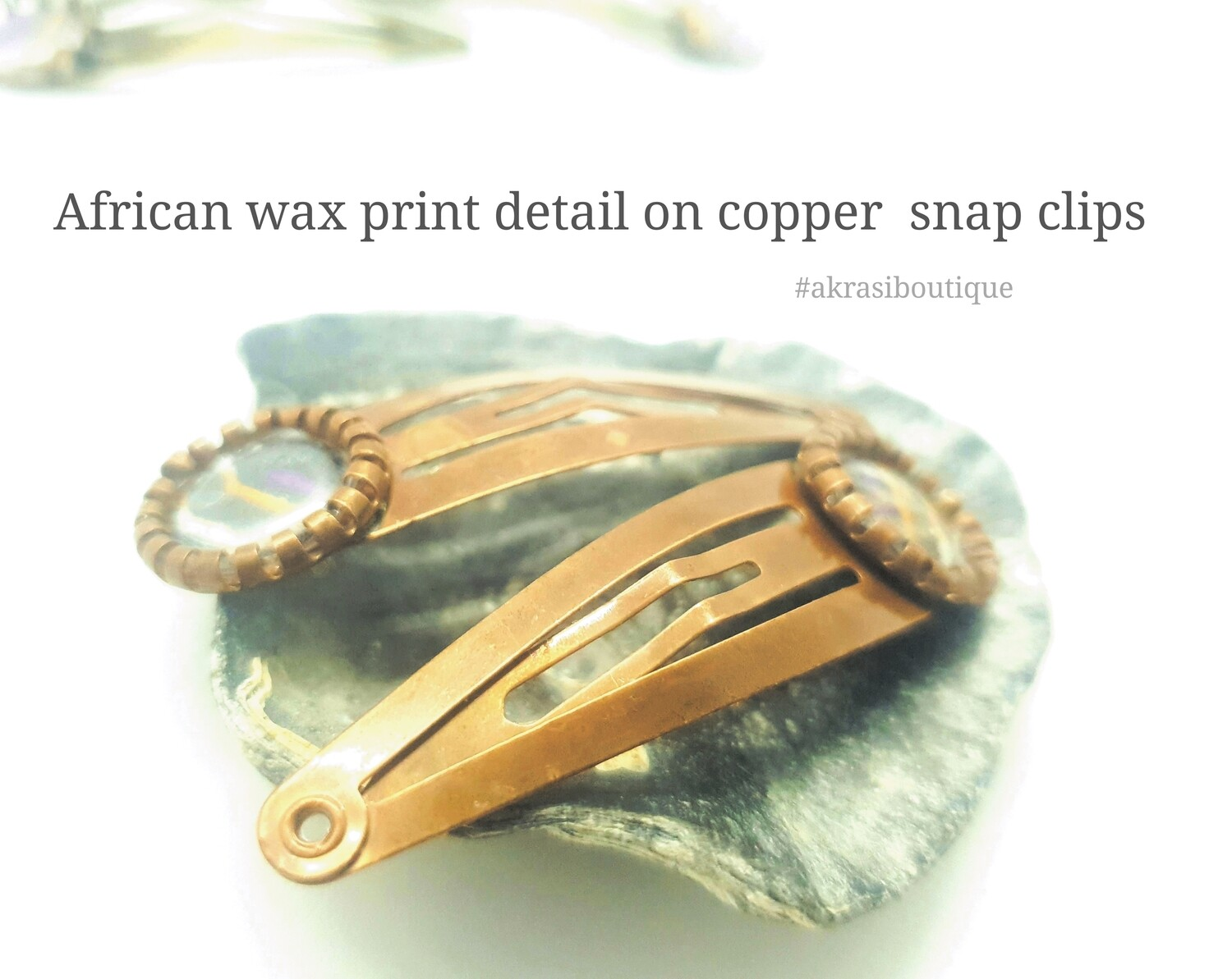 African wax ankara detail snap clip in copper | Ankara hair clip | hair accessories