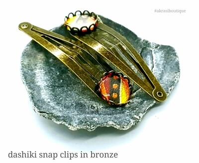 African wax dashiki detail snap clip in bronze | Ankara hair clip | hair accessories