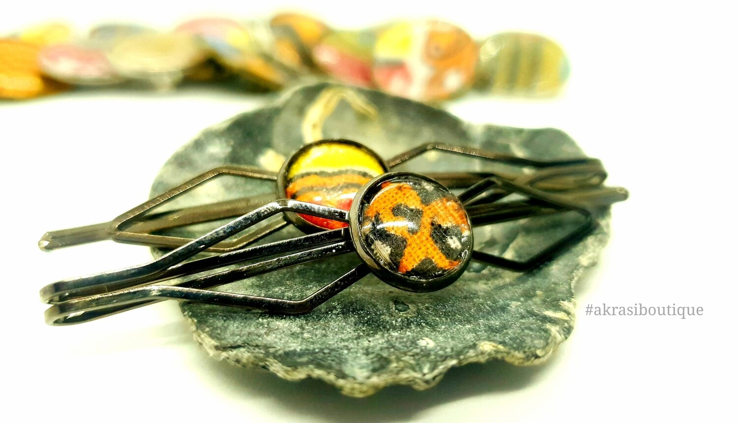 African wax dashiki detail silver hair grip | hair slide | hair accessories