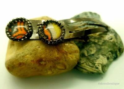 African wax dashiki detail snap clip in dark silver | Ankara hair clip | hair accessories