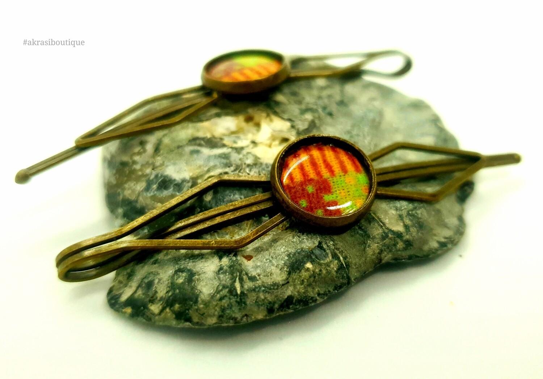 African wax kente detail bronze hair pin | hair slide | hair accessories