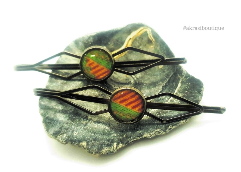 African wax kente detail silver hair grip | hair slide | hair accessories