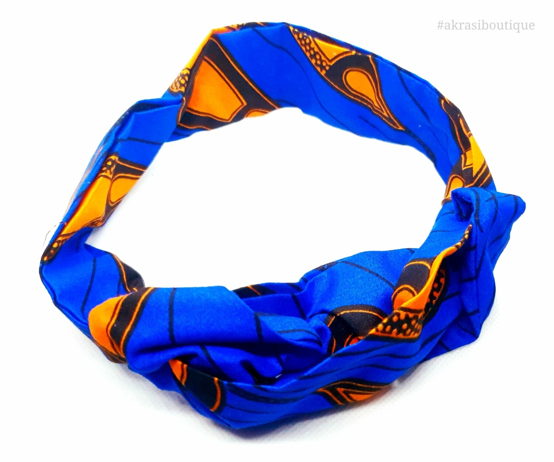 African wax print blue and orange wire twist hair wrap | African print wire hair tie | Ankara print headtie | headwrap