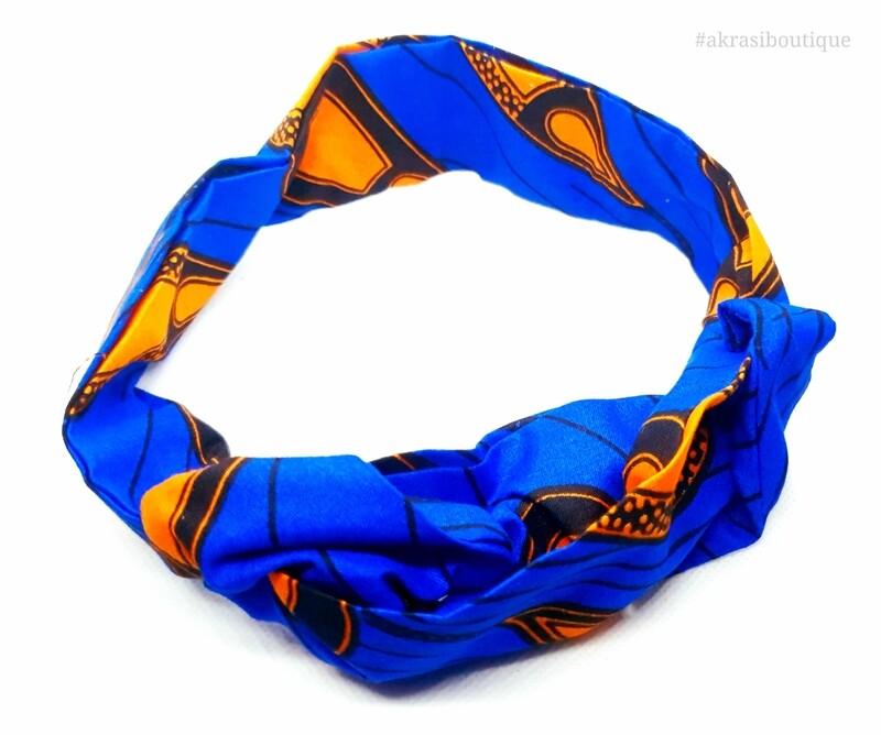 African wax print blue and orange wire twist hair wrap   African print wire hair tie   Ankara print headtie   headwrap