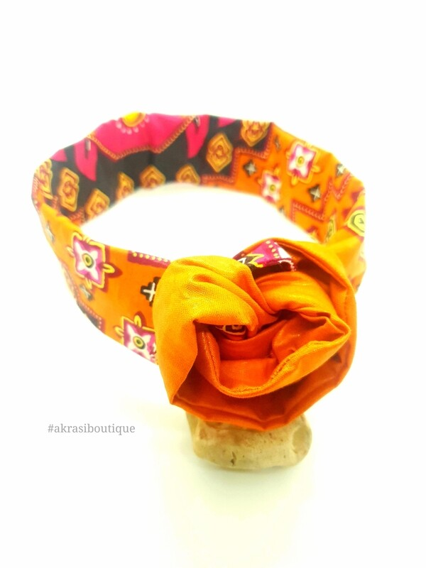 African wax print burnt orange, red and yellow wire twist hair wrap   African print wire hair tie   Ankara print headtie   headwrap