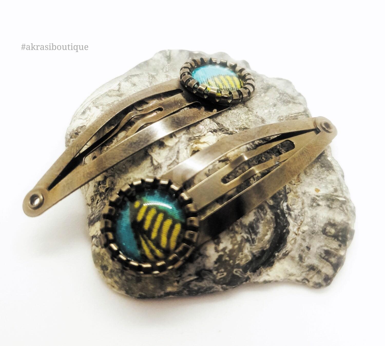 African wax print detail snap clip in dark silver | blue and silver hair clip | hair accessories