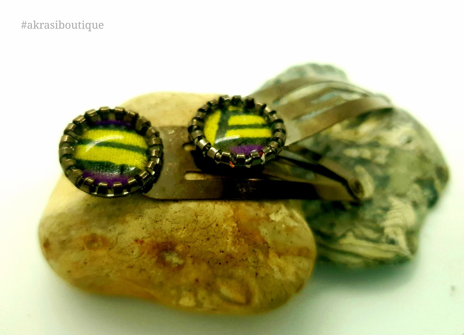 African wax print detail snap clip in dark silver | purple and yellow hair clip | hair accessories