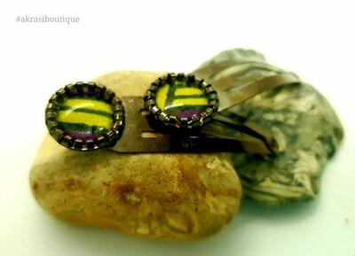 African wax print detail snap clip in dark silver | purple and yellow hair clip | hair accessories
