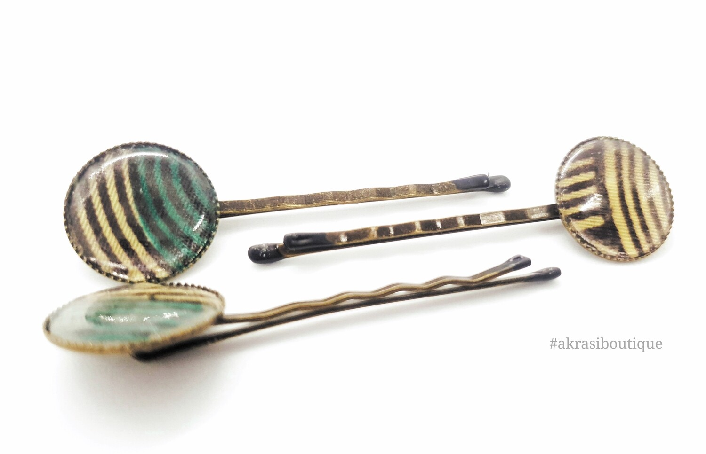Ankara hair pin set in bronze | African print bobby pin | Ankara hair slide