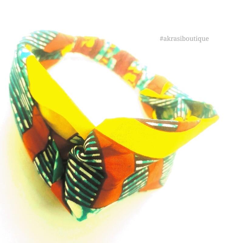 Ankara floral print half turban headband   African wax print headwrap   African twisted headband