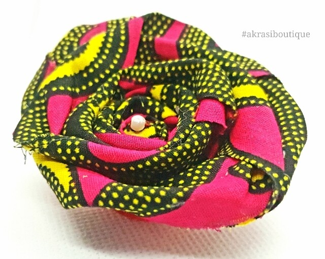African wax red, black and yellow print rose flower with pearl centre | flower pin | flower hair clip | flower brooch | clothing accessories