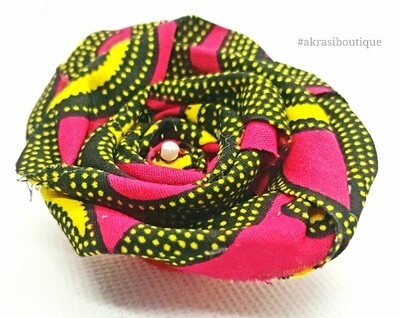 African wax red, black and yellow print rose flower with pearl centre   flower pin   flower hair clip   flower brooch   clothing accessories