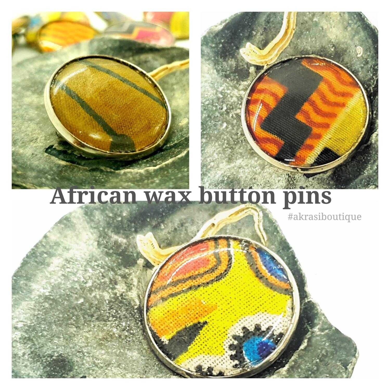 African wax print silver button pins | Ankara button badge | Kente pin