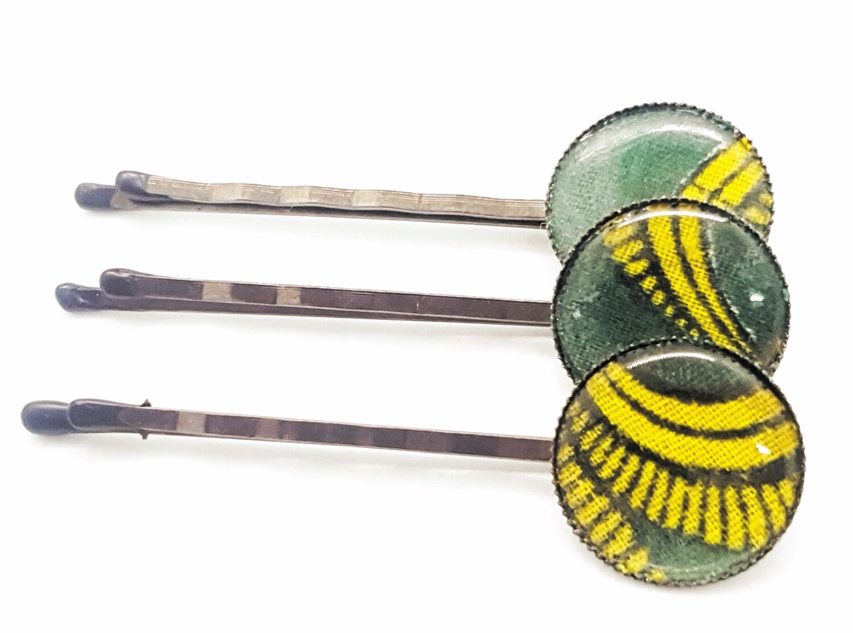 Ankara hair pin set | African silver bobby pin | Ankara hair slide