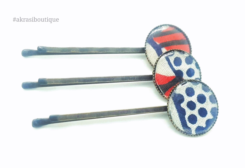 Ankara hair pin set in bronze | African Bobby pin | Ankara hair slide