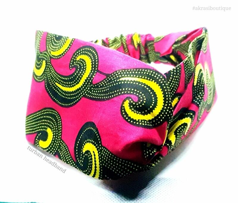 Ankara print half turban headband   African wax print headwrap   red, black and yellow African headband