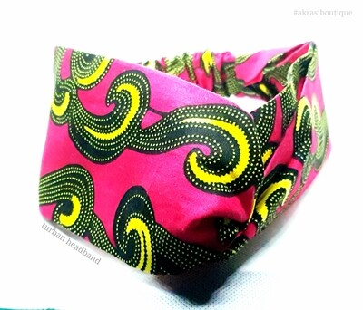 Ankara print half turban headband | African wax print headwrap | red, black and yellow African headband