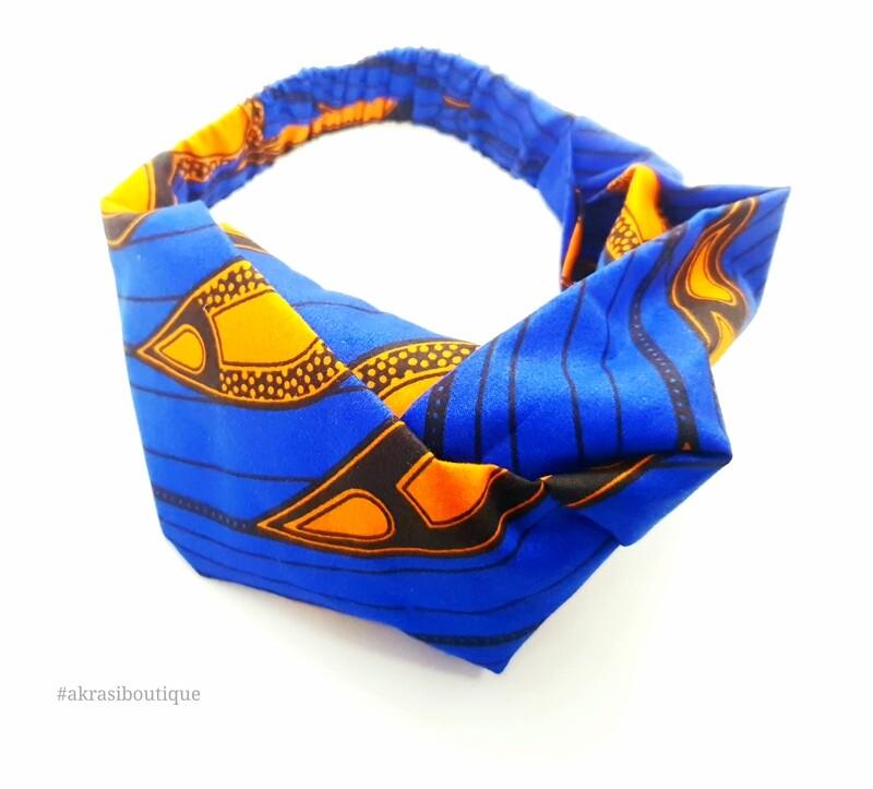 Blue and orange print half turban headband   African wax print headwrap   African twisted headband
