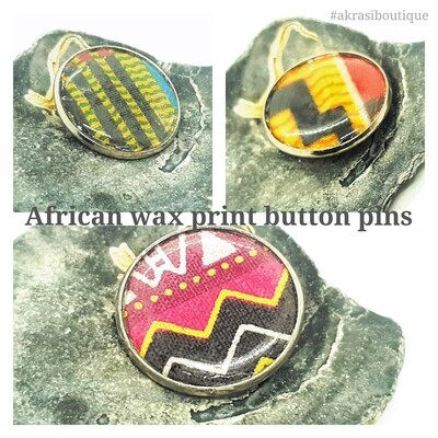 African wax print silver button pins | Ankara button badge | Kente pin