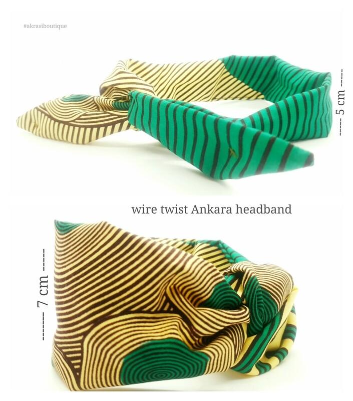 ankara print wire twist hair tie   geometric hair wrap   headband   African print headwrap   Ankara print wire headtie   wire hair tie