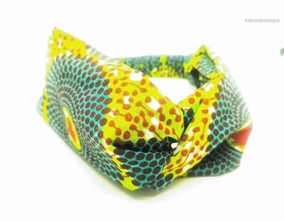 Ankara print green, blue and red turban headband  African print headwrap   headtie    headband   hair tie