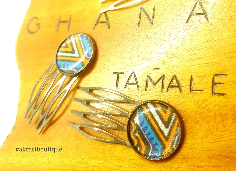 Dashiki hair comb set | African pins | Ankara hair slide