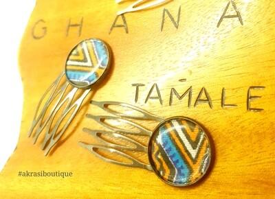 Dashiki hair comb set   African pins   Ankara hair slide