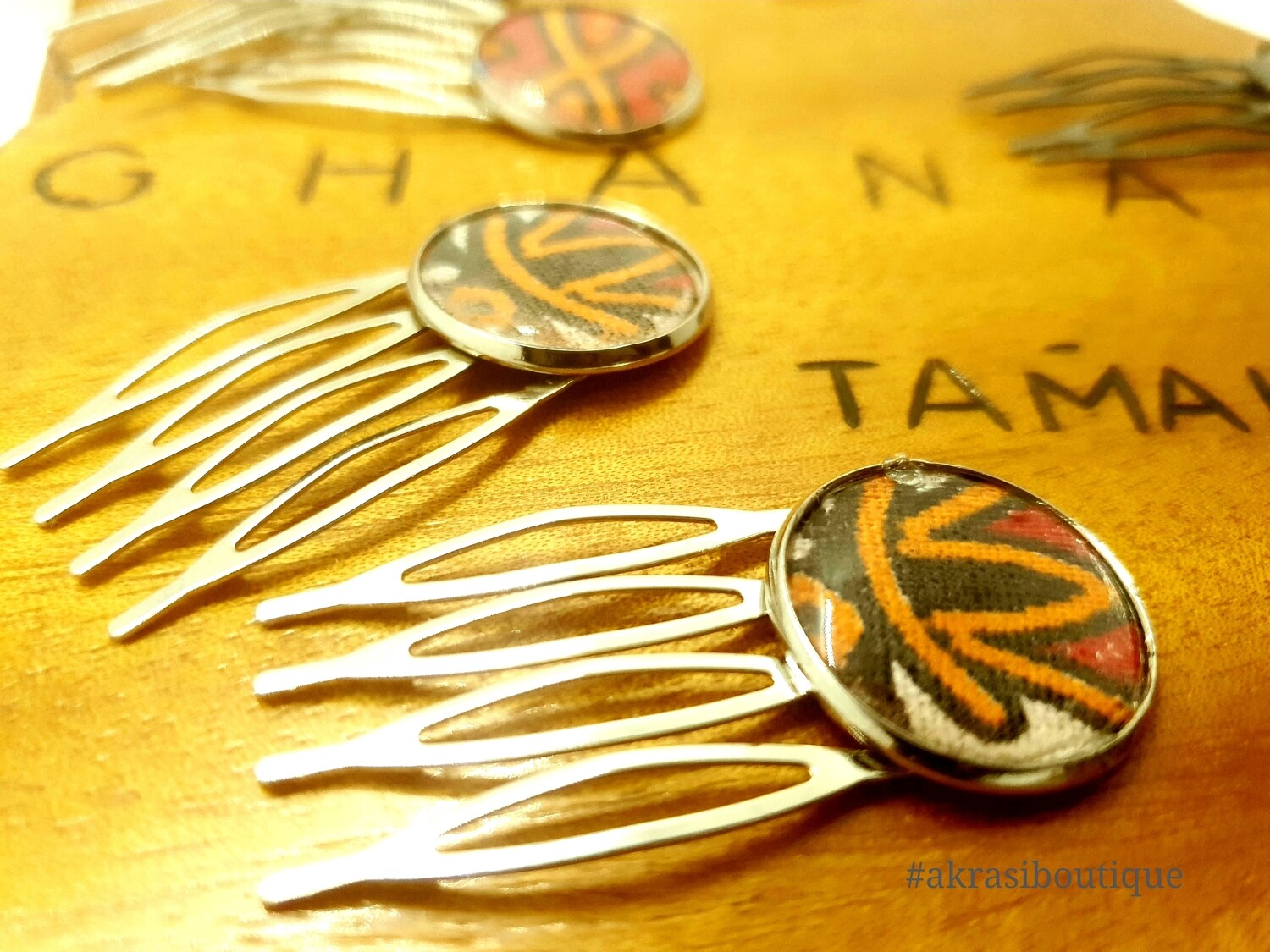 Dashiki hair comb set | African pins | Ankara hair slide