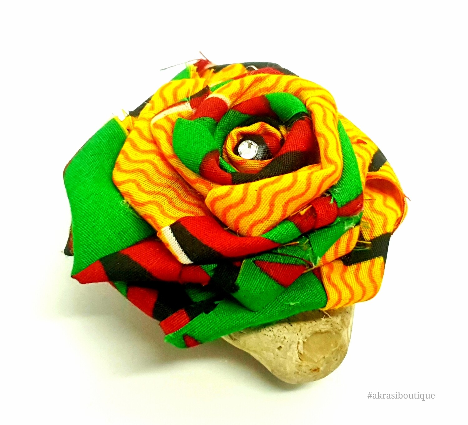 Fabric rose with gemstone in African kente print flower pin | flower hair clip | flower brooch | clothing accessories