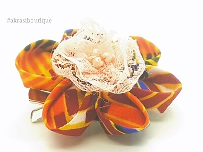 Kanzashi style kente print flower with pink lace & pearl centre   flower pin   flower hair clip   flower brooch   clothing accessories