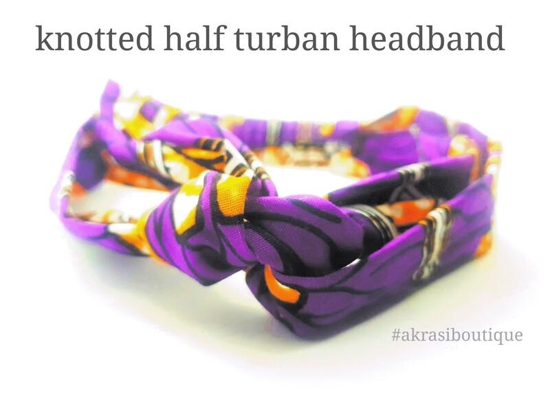 Handmade Ankara print in purple, cream and orange turban headband  African print headwrap   headtie    headband   hair tie