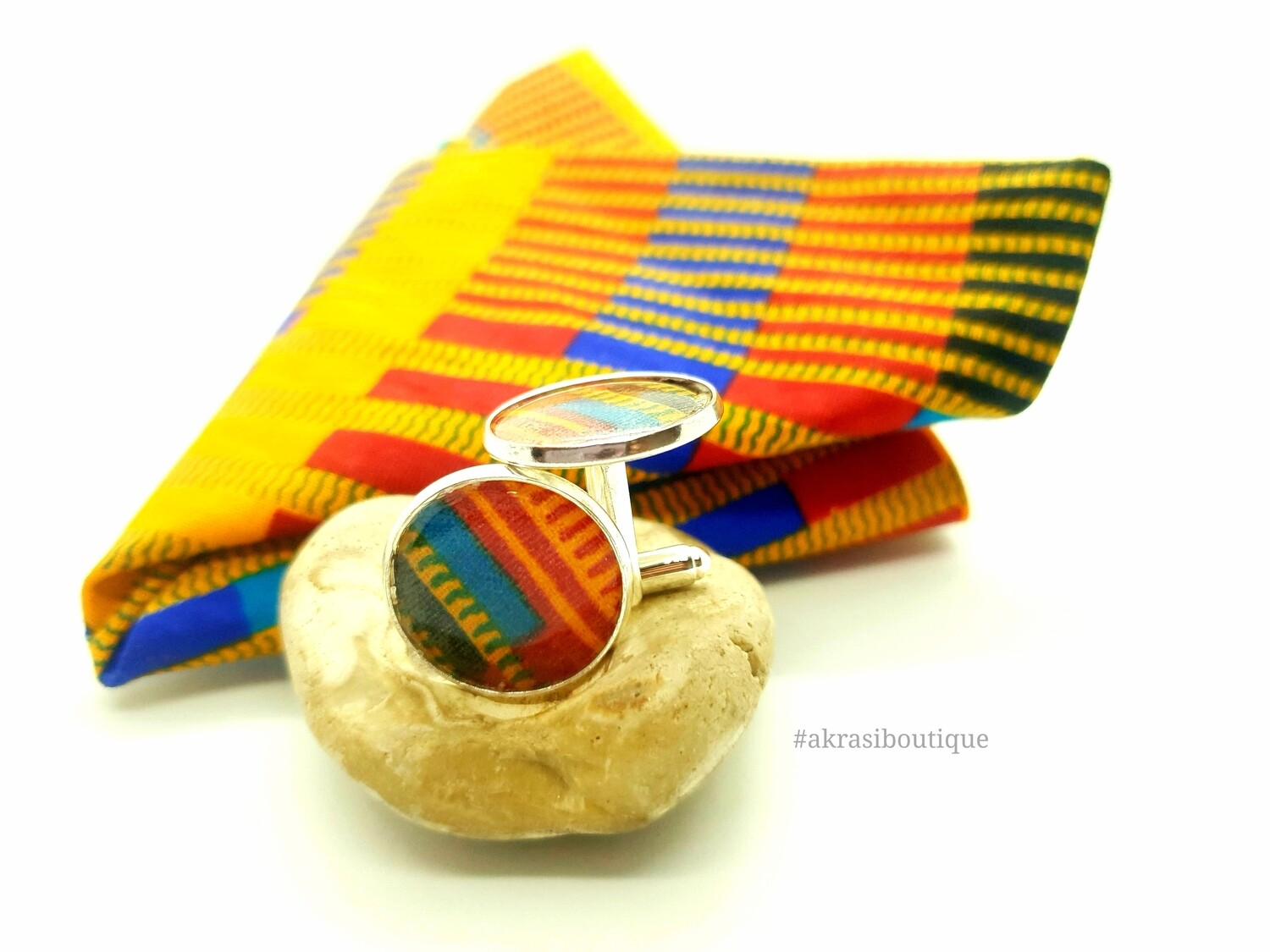 Kente African wax print pocket square with cufflinks | men's accessories | Ankara pocket square | African cufflinks