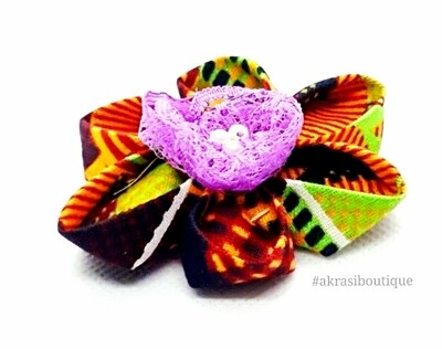 Kanzashi style kente print flower with lilac lace & pearl centre | flower pin | flower hair clip | flower brooch | clothing accessories