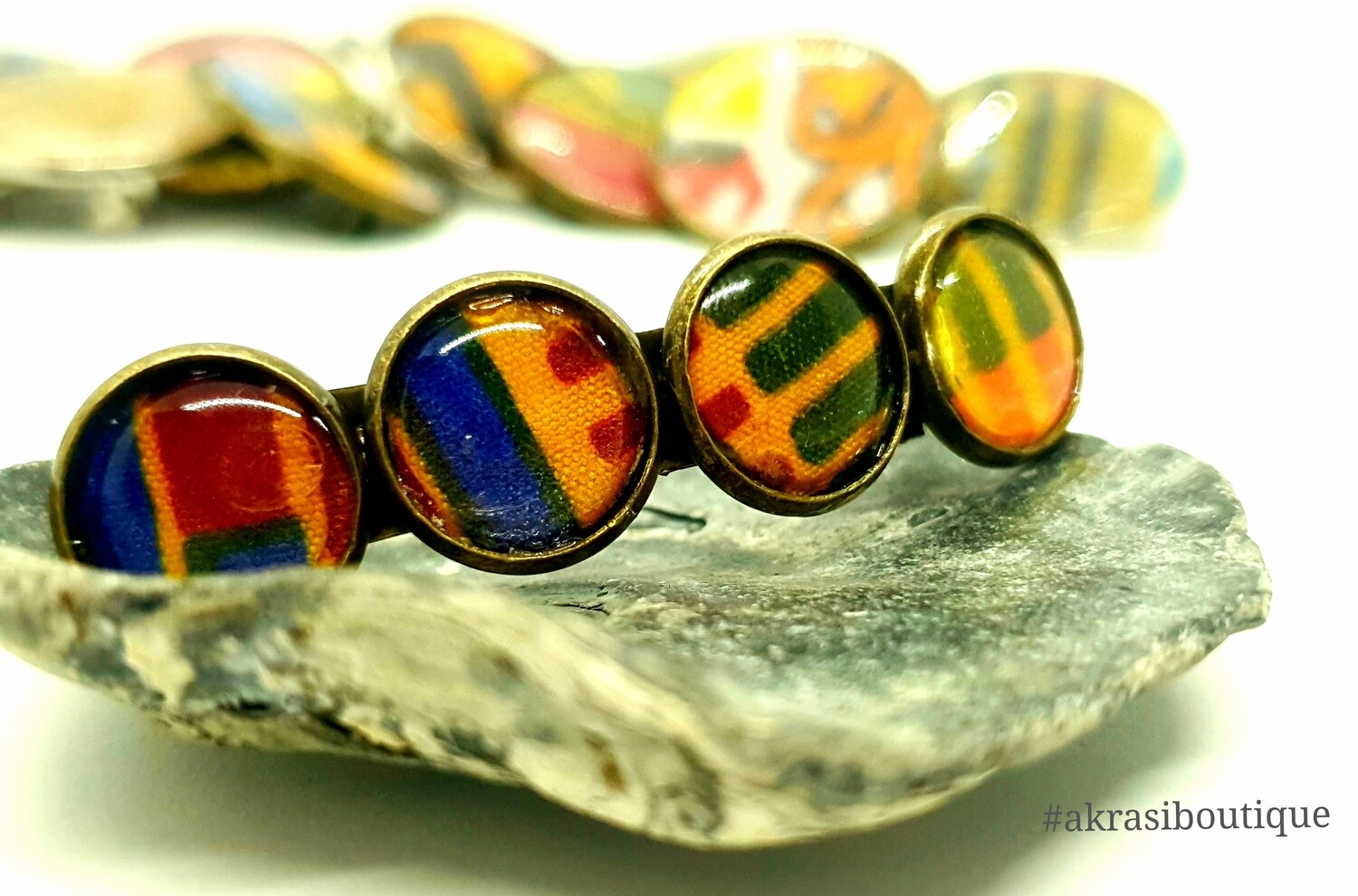 Kente barrette hair clip in bronze