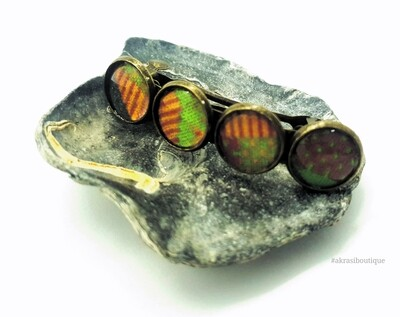 Kente green and red barrette hair clip in bronze