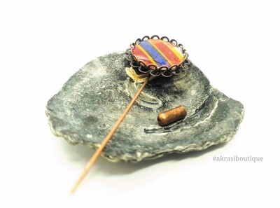 Kente detail lapel pin | ankara scarf pin | hat pin