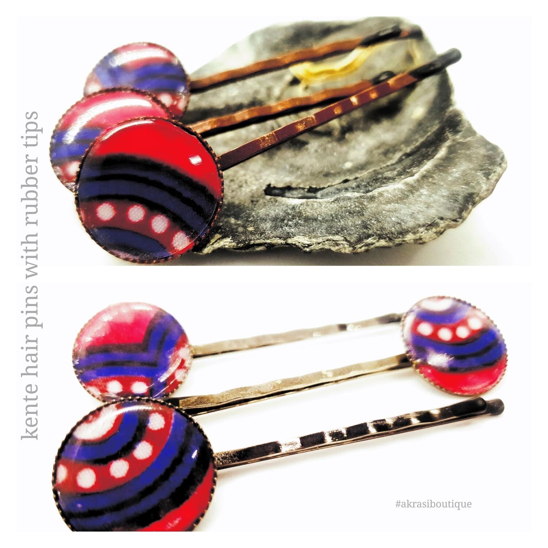 Kente hair pin set | African Bobby pin | Ankara hair slide