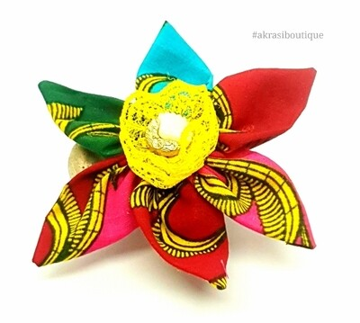 Star flower with vintage button centre in African print fabric flower pin   flower hair clip   flower brooch   clothing accessories