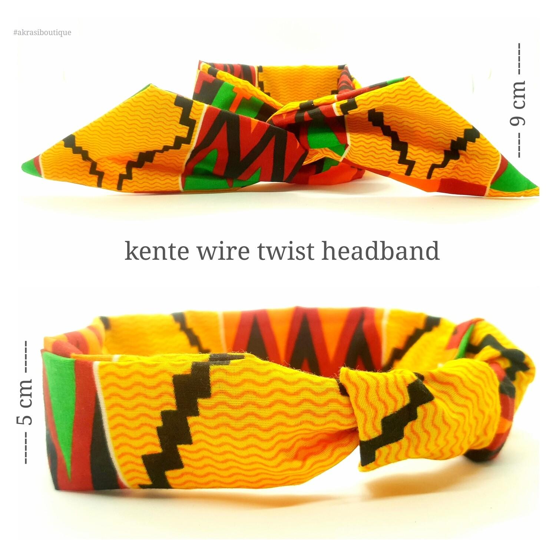 Kente print wire twist hair tie with curved edge | hair wrap | headband | African print headwrap | Ankara print wire headtie | wire hair tie