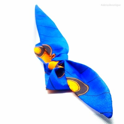 African wax print blue and orange knot tie hair wrap   African print knotted hair tie   Ankara print headtie   headwrap