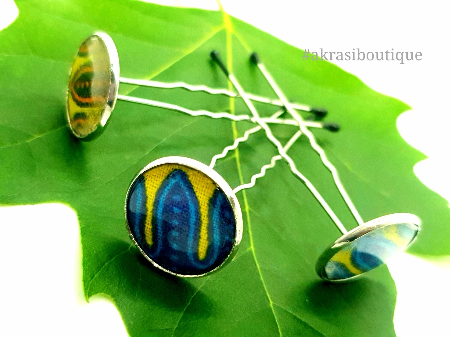 Triple Dashiki u shaped wavy hair pin set | African Bobby pins | Ankara hair slides